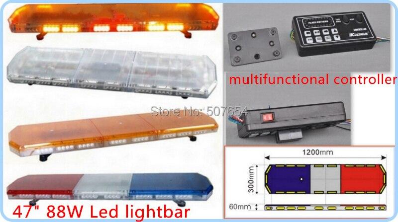Alto 120 cm 88 W Led de emergencia de coche de barra de luces de policía luces de advertencia. ambulancia luz estroboscópica luz de la barra con el controlador de impermeable