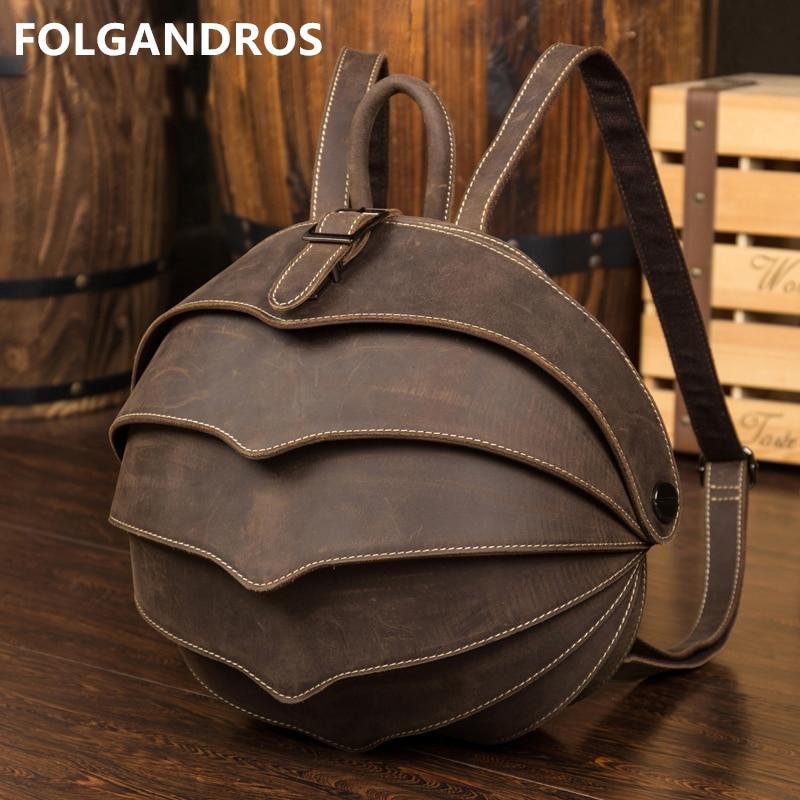 Haute qualité en cuir véritable sac à dos de mode hommes femmes fou cheval en cuir sac d'école personnalité Vintage à la main Daypacks