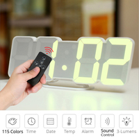Digital Time Alarm Clock LED Wall Clock With 115 Colors Remote Control Digital Watch Night Light Magic Desktop Table Clock