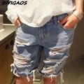 2016 Del Verano de Las Nuevas Mujeres Suelta Pantalones Cortos de Mezclilla Mendigo Agujero Rasgado Jeans Shorts Ladies Short Jeans Para Mujeres Pantalones Cortos Más El Tamaño S-XXXL