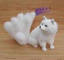 new creative simulation white nine-tailed fox toy resin&fur big fox doll gift about 28x26cm