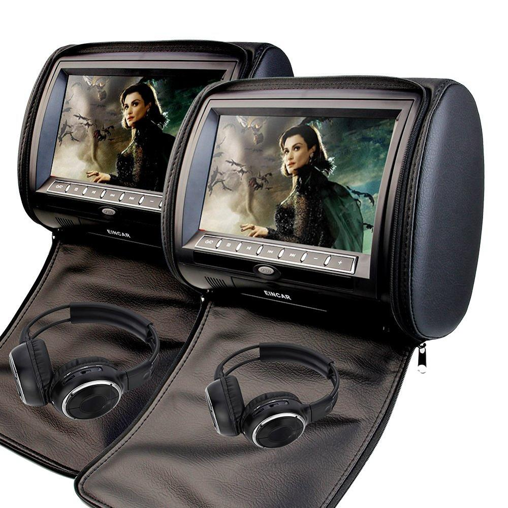 Black 2pcs 9 Headrest Monitor Car CD DVD Player Automotive+ LED Digital Screen GAME Pupug USB SD FM IR+Free two headphones eincar car 9 inch car dvd pillow headrest two monitor lcd screen usb sd 32 bit game fm ir multimedia player free 2 ir headphones