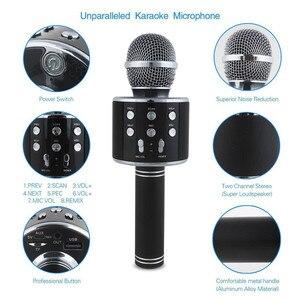 Image 3 - Bluetooth mikrofon WS858 כף יד אלחוטי קריוקי מיקרופון טלפון נגן מיקרופון רמקול שיא מוסיקה KTV Microfone עבור iPhone מחשב