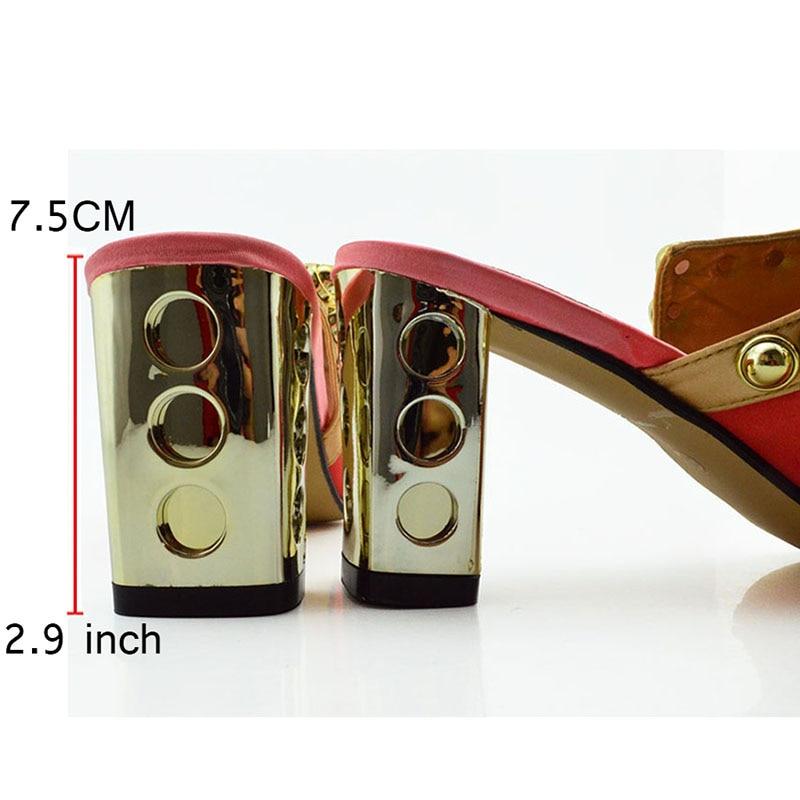 جديد وصول الوردي اللون المرأة الأفريقية مطابقة الأحذية الايطالية و مجموعة الحقائب مزينة حجر الراين السيدات الايطالية حذاء وحقيبة-في أحذية نسائية من أحذية على  مجموعة 2