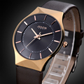Julius Relojes de Caballero de Marca de Los Hombres de Moda Reloj de Cuarzo Horas Ultral Caja Delgada de Vestir de Cuero Genuino de Negocios Masculino Relojes de Pulsera