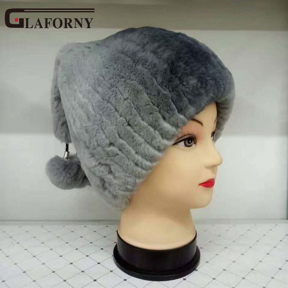 Glaforny New Rex Rabbit Fur Hats Women Winter Thick Warm Fashion Knitted Caps Brand Pom Poms Beanies with 3 Rabbit Fur Ball