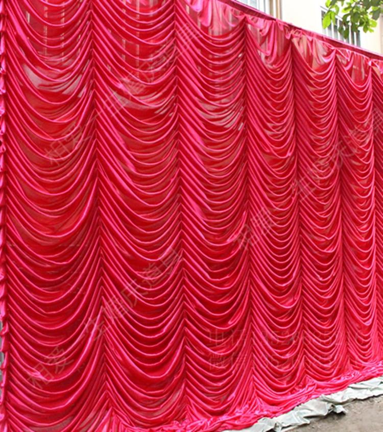 Hotsale mariage toile de fond rideau avec swag toile de fond décoration de mariage romantique glace soie scène rideaux en gros diverses couleurs