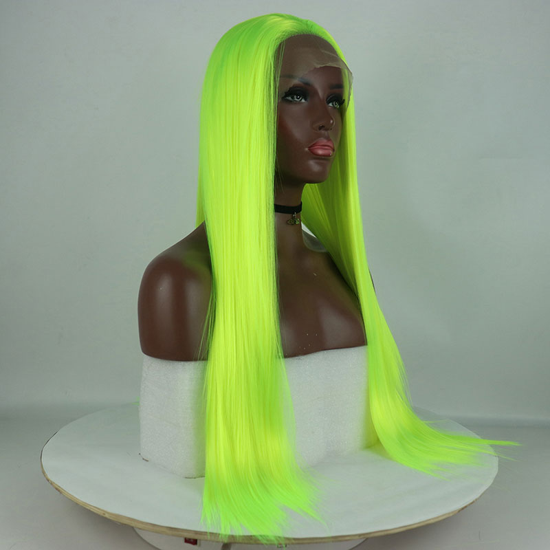 Image 4 - Bombshell Synthetic Lace Front Wigs Light Green Straight Cosplay Drag Queen Party Wig Heat Resistant Fiber Hair-in Synthetic Lace Wigs from Hair Extensions & Wigs