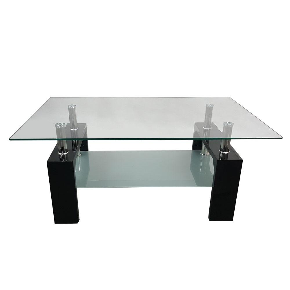 Vidrio transparente mesa de café rectángulo 2 capa té Muebles de ...