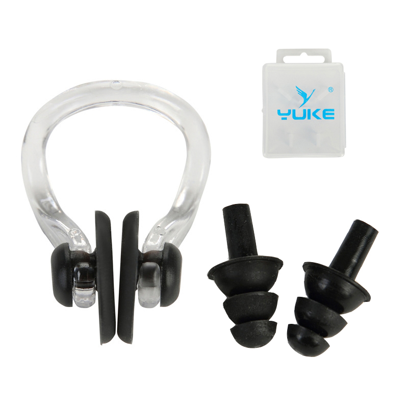 1 Pair Waterproof Swimming Professional Silicone Swim Earplugs for Adult Swimmers Children Diving Soft Nose Pads+Ear Plug