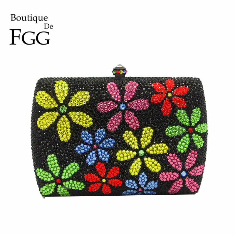 Multi Flower Women Crystal Clutch Evening Bags Metal Hard Case Party Floral Clutches Handbag and Purse Bridal Wedding Clutch Bag