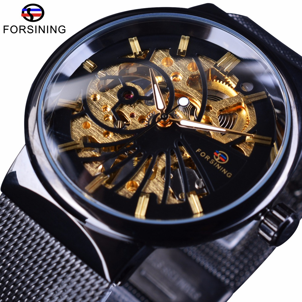 Forsining 2017 Fashion Luxury Thin Small Dial Design unisex Orologi impermeabili Uomini Luxury Brand Skeleton Orologio da polso maschile