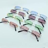 Small Square Fashion Sunglasses Men Rimless Metal C Colorful Carter Sun Glasses Summer Shade Mens Decoration Party Accessories