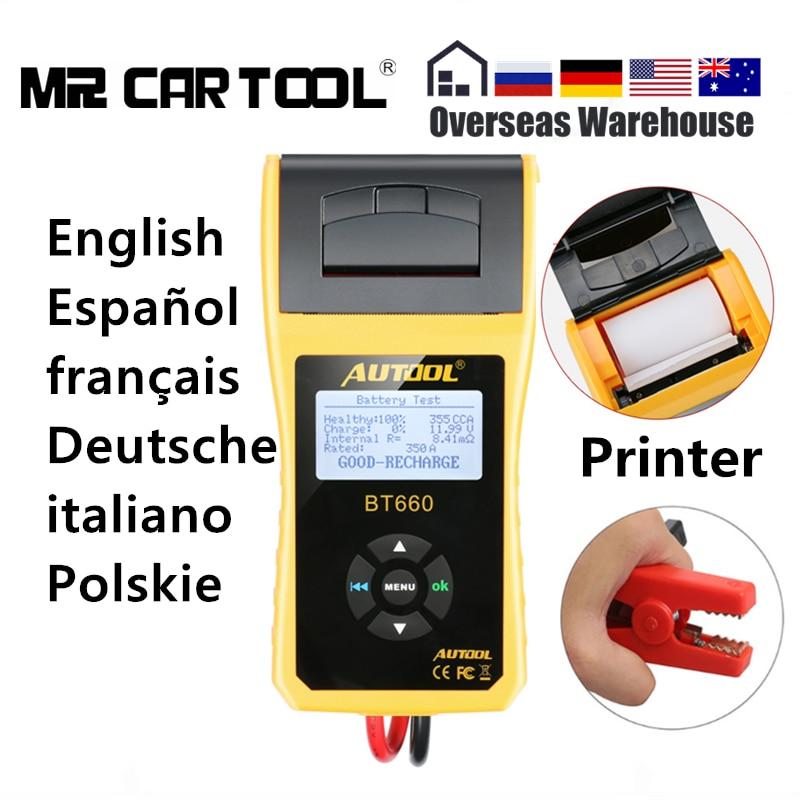 AUTOOL BT660 12 V Batteria Auto Tester Analyzer Stampante 3000 CCA Auto A Gomito di Ricarica Volt Test Multi-language Digitale portatile