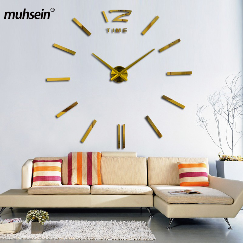 2019 New Gold Color Freeshipping Fashion 3D Big Size Mirror Sticker DIY Wall Clocks Home Decoration Wall Clock Meetting Room