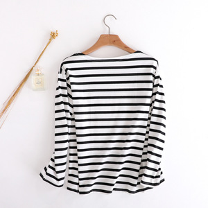 Nueva camiseta de gama alta negro blanco raya carta cuello redondo algodón chaqueta manga corta tops