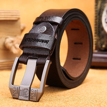 [beke leBOLO] ремень GENUINE LEATHER FOR MEN HIGH QUALITY BLACK BUCKLE JEANS BELT COWSKIN CASUAL BELTS BUSINESS WAISTBAND