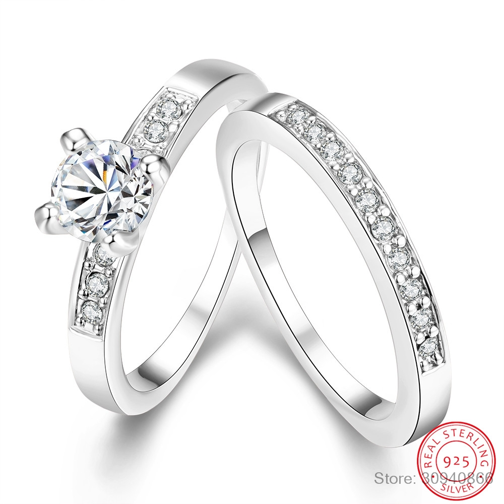 LEKANI 925 Sterling Silver Ring Sets With Full White High Quality CZ Crystal For Women/Girls Charm Jewelry With 2 PCS Wholesale
