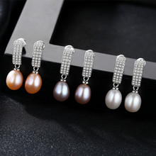 YUEYIN Silver 925 Earrings Freshwater Nature Pearl for Women Vintage Classic Elegant