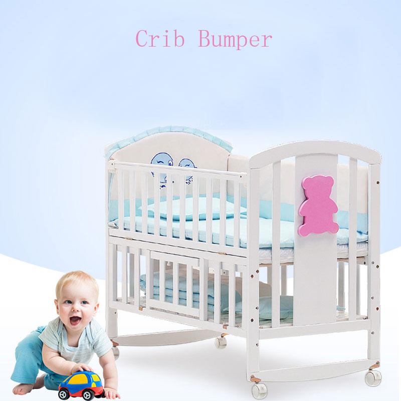 5 pièces/ensemble dessin animé lit de berceau pare-chocs pour les nouveau-nés 100% coton confortable enfants lit protecteur bébé lavable ensemble de literie