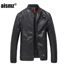 Aismz Faur Leather Winter Jacket Men Warm Thicken 40 PU 60 Cotton Stand Collar Men s