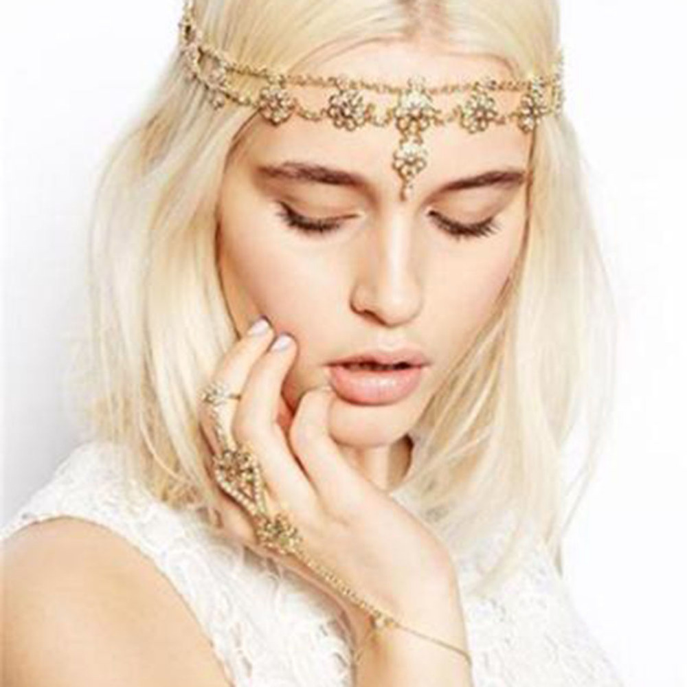 Gold Head Chain Headband Hair band Hair Jewelry Flower Pearl Tassel Forehead Headpiece Hair Chains For Women