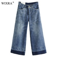 WIXRA Spliced Jeans For Women Ankle Length Pants Female Fashion Loose High Waist Jeans Denim Wide Leg Pants For Women