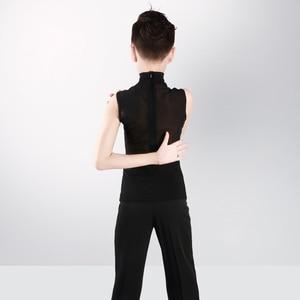 Image 2 - Boys Latin Dance Tops Shirts Black Stand Collar Cardigan 2 Pieces Suit Rumba Samba Dance Wear Kids Dance Competition Costumes
