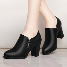New Thick Heel Lady Boots Black High Heel Ankle Boots For Women Pointed Toe Side Zipper Female Shoes Ladies Boots YG-A0068 недорого