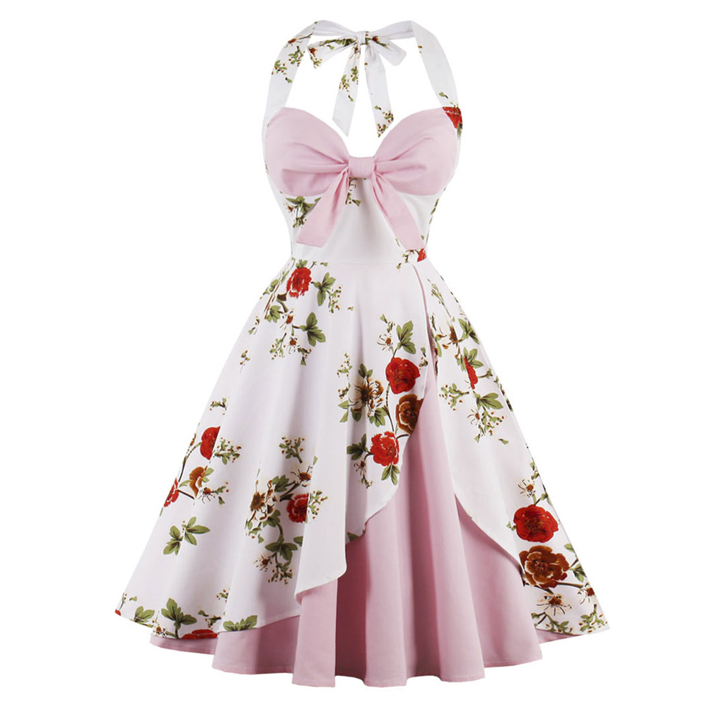 ed495f7c889 Wipalo Vintage Dress Women Floral Print Pin Up Halter Summer Dresses Retro  50s Rockabilly Party Dress