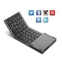 Mini Bluetooth 3.0 Folding Keyboard Ultra Thin Light Three Layers Folding Keyboard With Touchpad For Windows IOS Android
