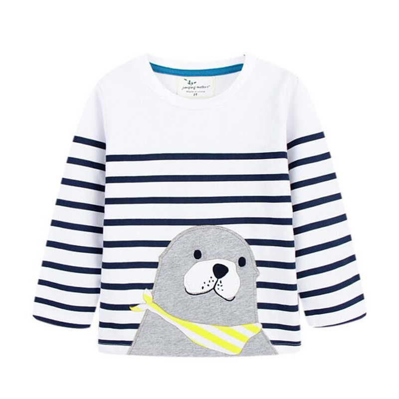 jumping meters Long Sleeve T Shirt boys Girls Autumn Spring Wear T Shirts 100% Cotton new fashion t shirt boy applique animals contrast lace applique t shirt