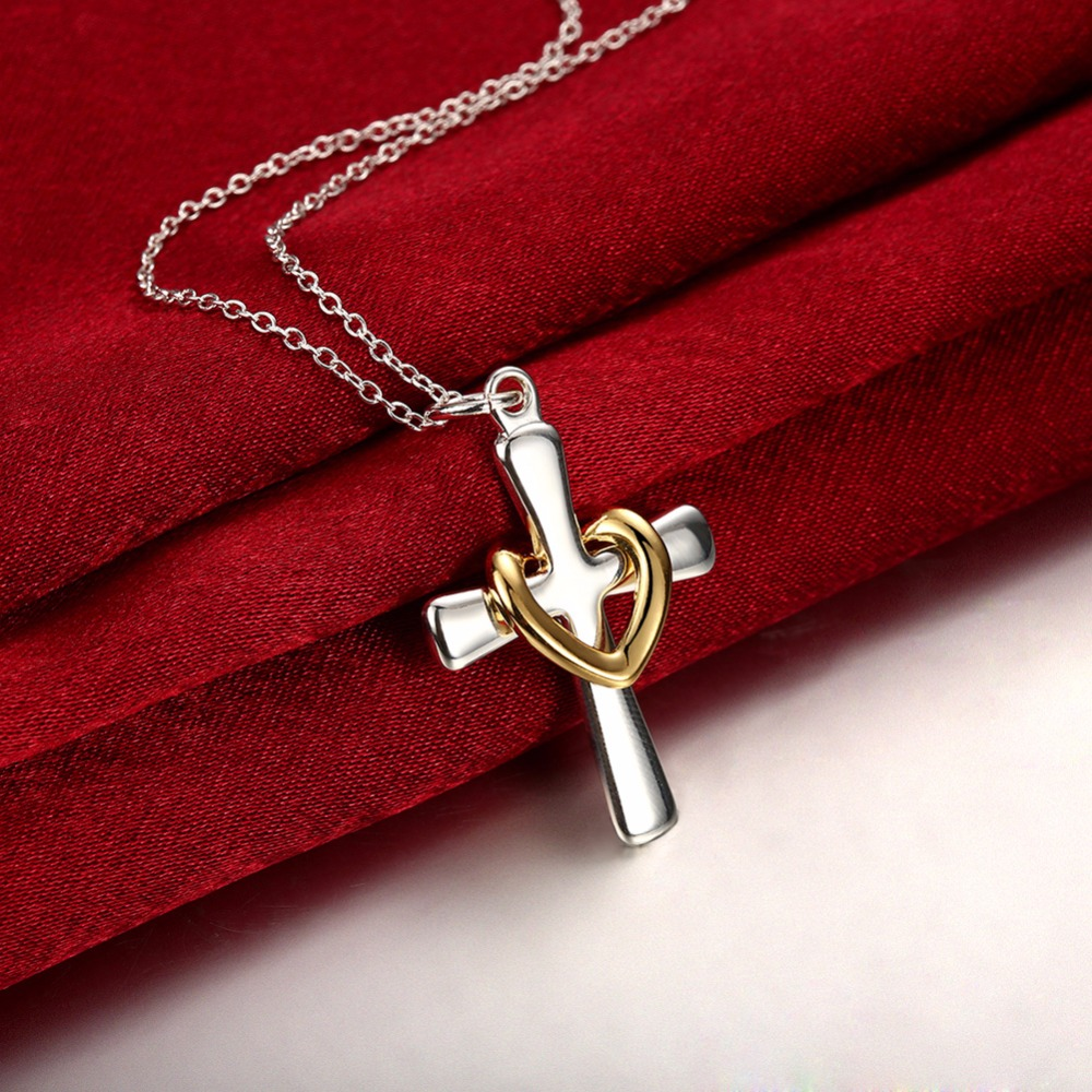 Golded heart crucifix christian Cross pendant necklace for Woman men 925 stamp silver plated fashion jewelry Christmas gift fluid