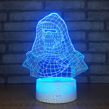 Darth Vader Shape 3D Lamp Bedroom Table Lamps Night Light Acrylic Panel USB Cable 7 Colors Change Touch Base Lamp Kids Gift недорого