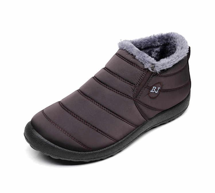 2019 nuevos zapatos de Invierno para mujer, botas de nieve de Color sólido, interior de felpa, botas antideslizantes para mantener el calor, botas de esquí impermeables, tamaño 35-46
