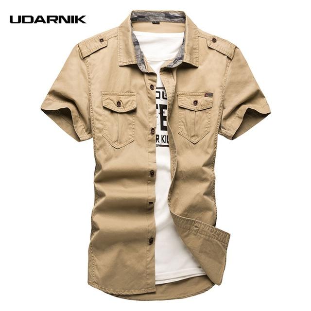 266708c868 Camisa de los hombres casuales de algodón de manga corta de carga militar  estilo Safari de