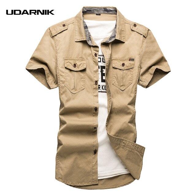 Relatively Men's Shirt Casual Cotton Short Sleeve Cargo Military Safari Style  BS12
