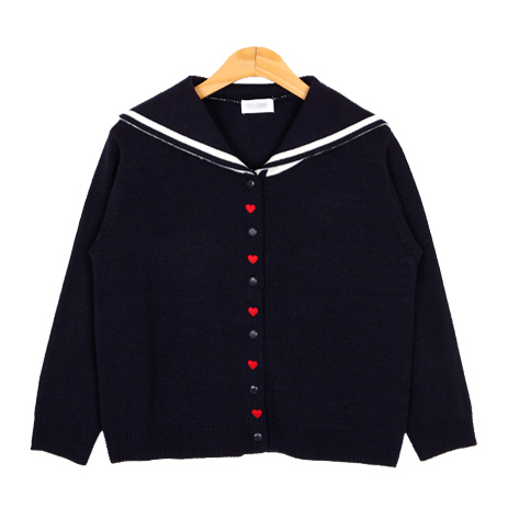 Spring Women 's New Cute Navy collar Water Hand Wind Knit Cardigan heart shaped Peach Heart Embroidered Cardigan sweater for gir