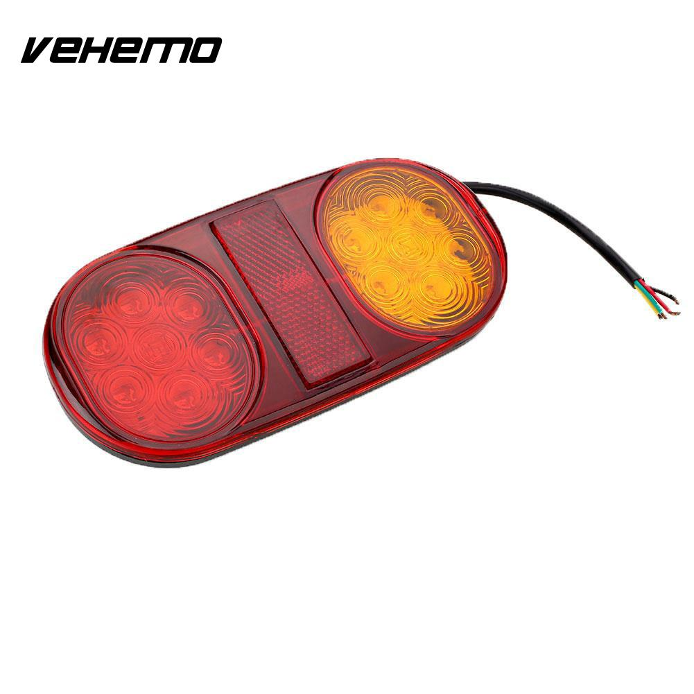 Vehemo 14 LED Truck Car Trailer Boat Caravan Tail Light Brake Stop Lamp Taillight vehemo vehemo 10 30v 4 led tail number license plate light lamp truck trailer waterproof