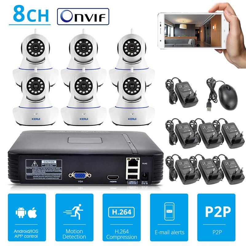 KERUI 4CH 8CH 720P HD NVR комплект видеонаблюдения камера системы 1MP Крытый безопасности IP камера товары теле и видеонаблюдения