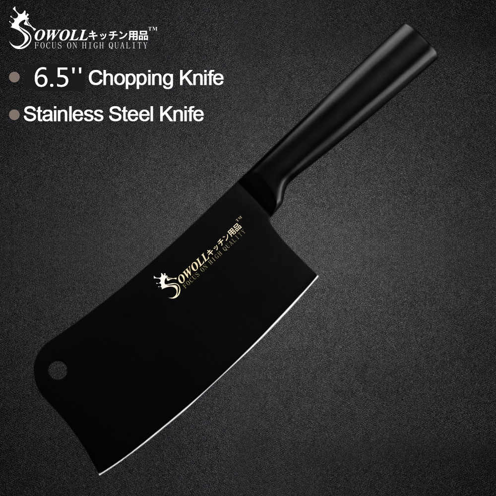 Sowoll 6.5 inch Cleaver Stainless Steel Knife Non-slip Handle Sharp Blade Chopping Knife Steak Meat Bone Kitchen Accessory