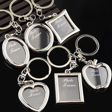 Creative Mini Heart Square Round Oval Insert Photo Frame Rotary Keychain Keyring