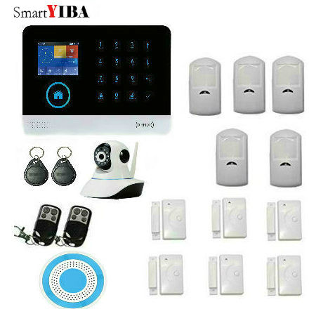 SmartYIBA WIFI GSM Home House Alarm System With LCD Touch Screen Alarm Panel WIFI IP Camera Wireless Blue Siren Motion Alarm g90b alarm system with wifi ip camera wireless pir motion detector gsm wifi home alarm systeme with strobe siren door sensor