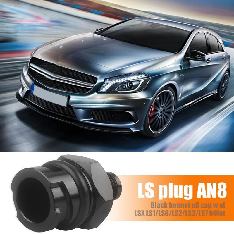 For LSX LS1//LS6//LS2//LS3//LS7 Billet Black Valve Cover Oil Cap w// 10 AN Fitting