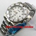 Мужские механические наручные часы  с белым циферблатом  40 мм