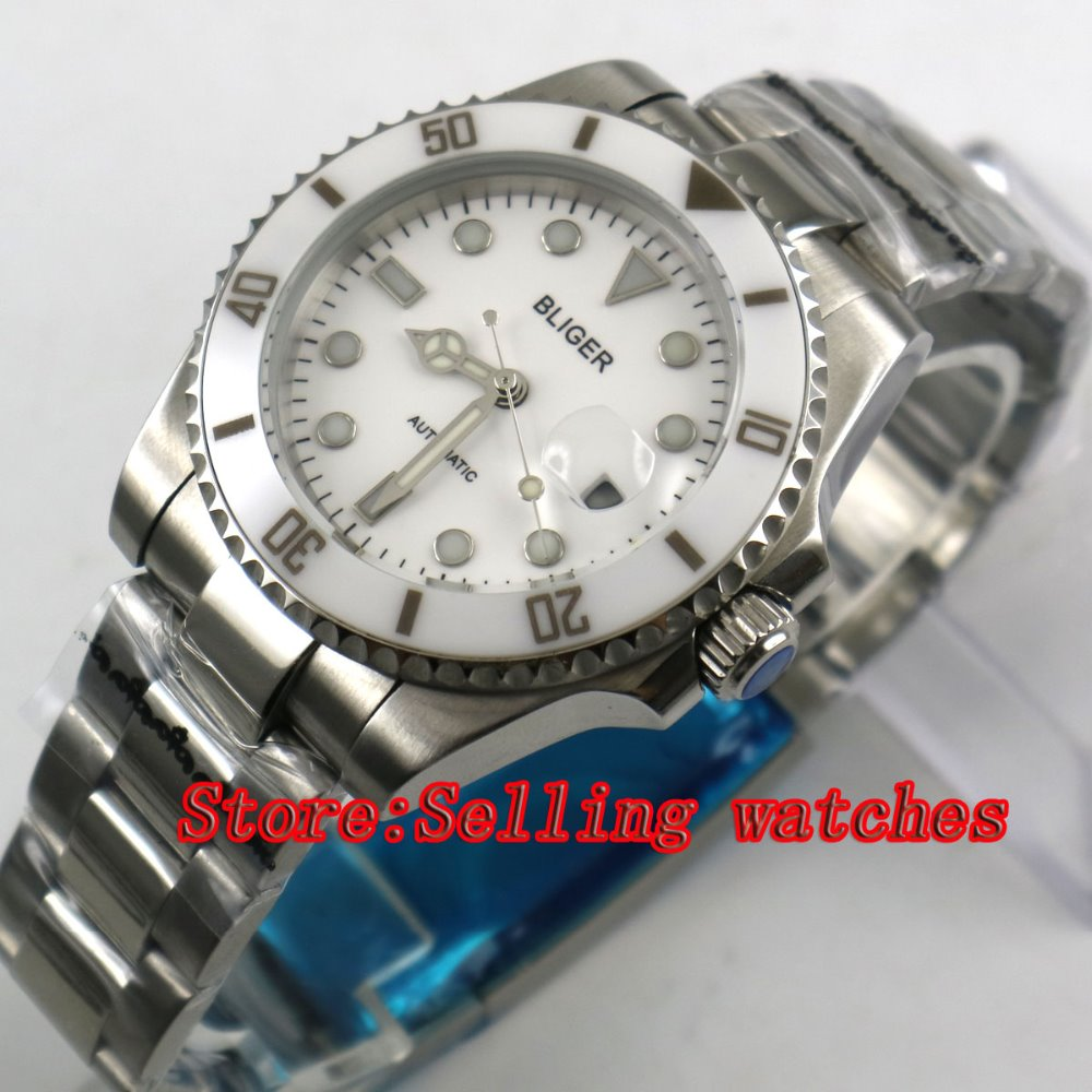 40mm Bliger white Dial white ceramic bezel Sapphire Glass Date Window Automatic Movement Men's Mechanical Wristwatches