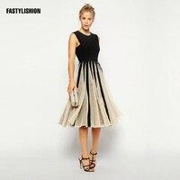 브랜드 드레스 세련된 여성 의류 중국 높은 품질 스트라이프 패치 워크 메쉬 드레스 캐주얼 슬림 여성의 드레