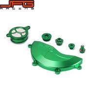 Green CNC Engine Cover Guard Cap Timing Oil Filter Screw Bolt For KAWASAKI KXF450 KX450F KXF 450 06 07 08 09 10 11 12 13 14 2015