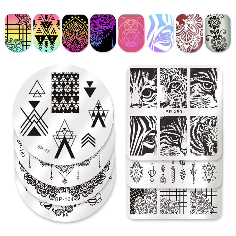 NASCIDO BASTANTE Espaço Negativo Placas de Imagem Nail Art Stamping Template Stamp Fresco Triângulo Prego Placa Selo BP77