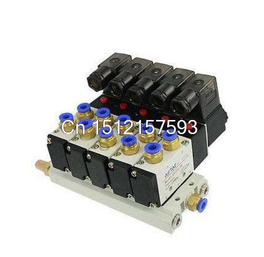 4V210-08 DC 12V Quintuple Solenoid Valve 6mm Connectors Silencers Base Set pneumatic solenoid valve 4v110 06 dc12v dc24v dc110v dc220v 2 positions twin solenoid valve mufflers quick fittings base set